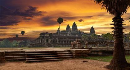 Angkor wat coucher soleil