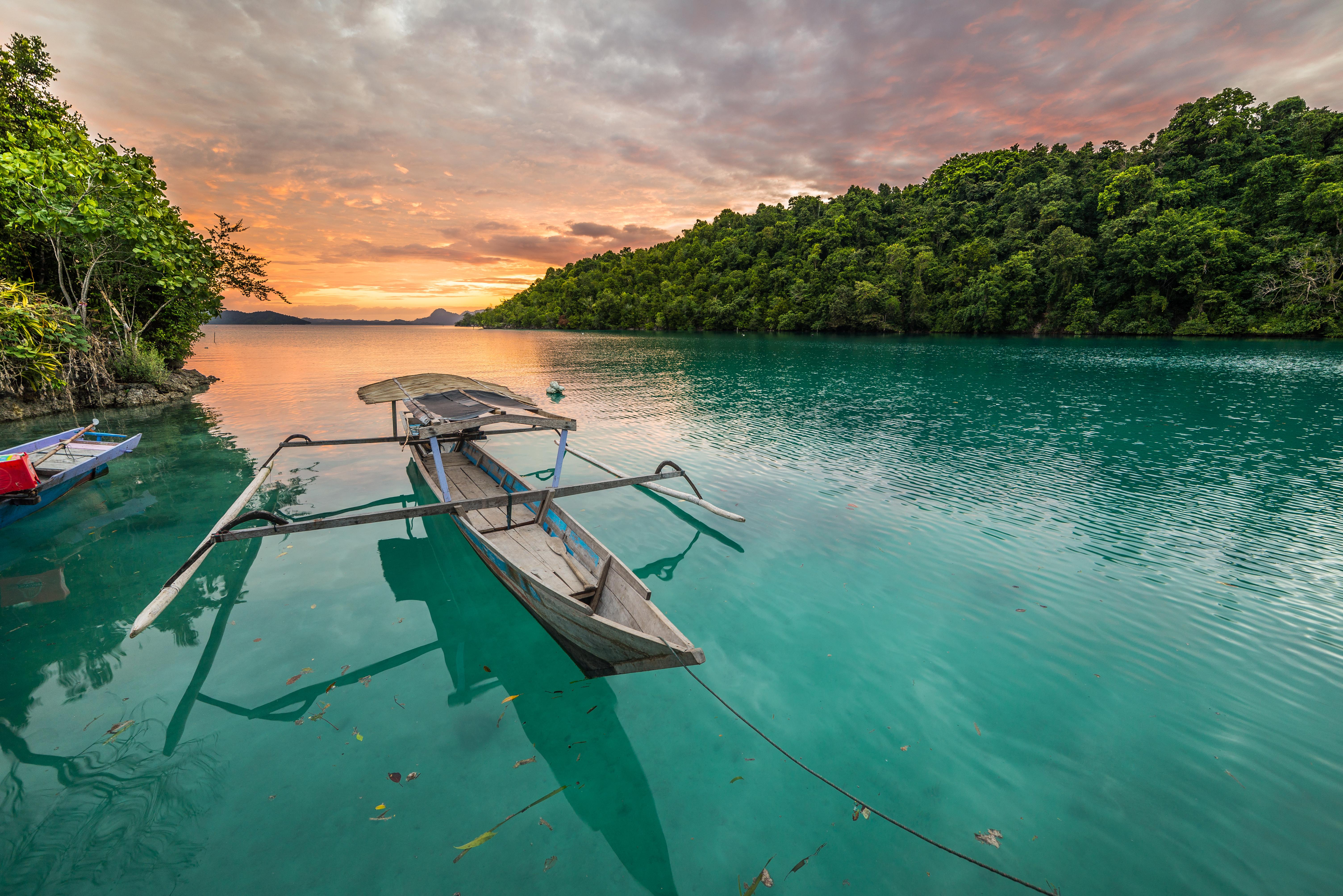 bali ile bateau coucher de soleil