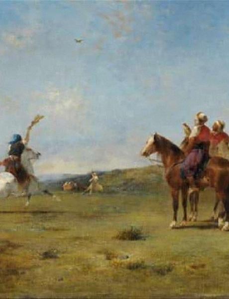 Eugène Fromentin (1820-1876) Arabes chassant le faucon, 1887 Huile sur toile