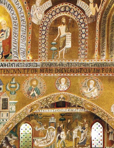 La chapelle palatine de Palerme date du 12ème siècle et réunit les styles roman, byzantin et arabe