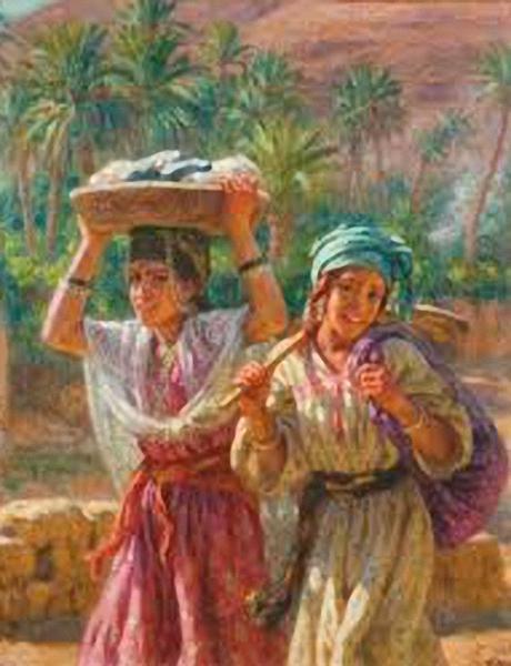 Jeune laveuses revenant de l'oued, de Etienne Dinet (Nasreddine) (1861-1929)
