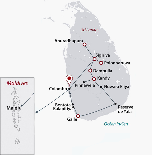 Carte Sri Lanka Maldives.Circuit Prive Ceylan Colonial Sejour Maldives 4 Sri