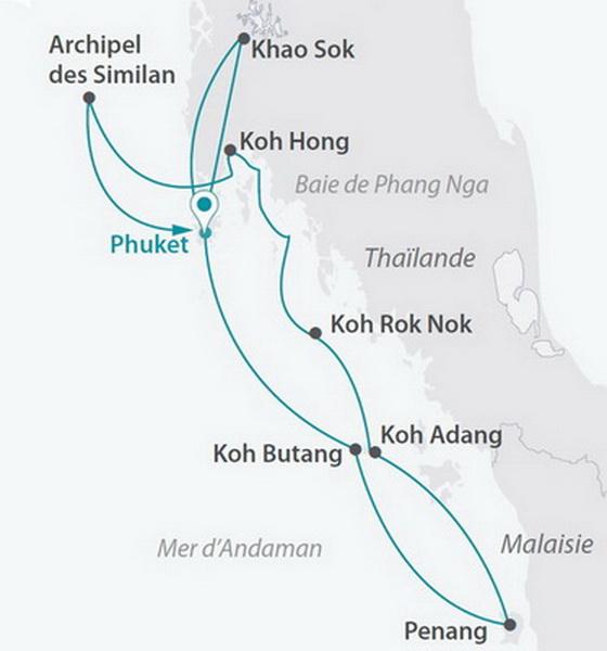 Malaisie - Thaïlande - Croisière Andaman Odyssée (cat. 2)  et Séjour à Phuket 5*