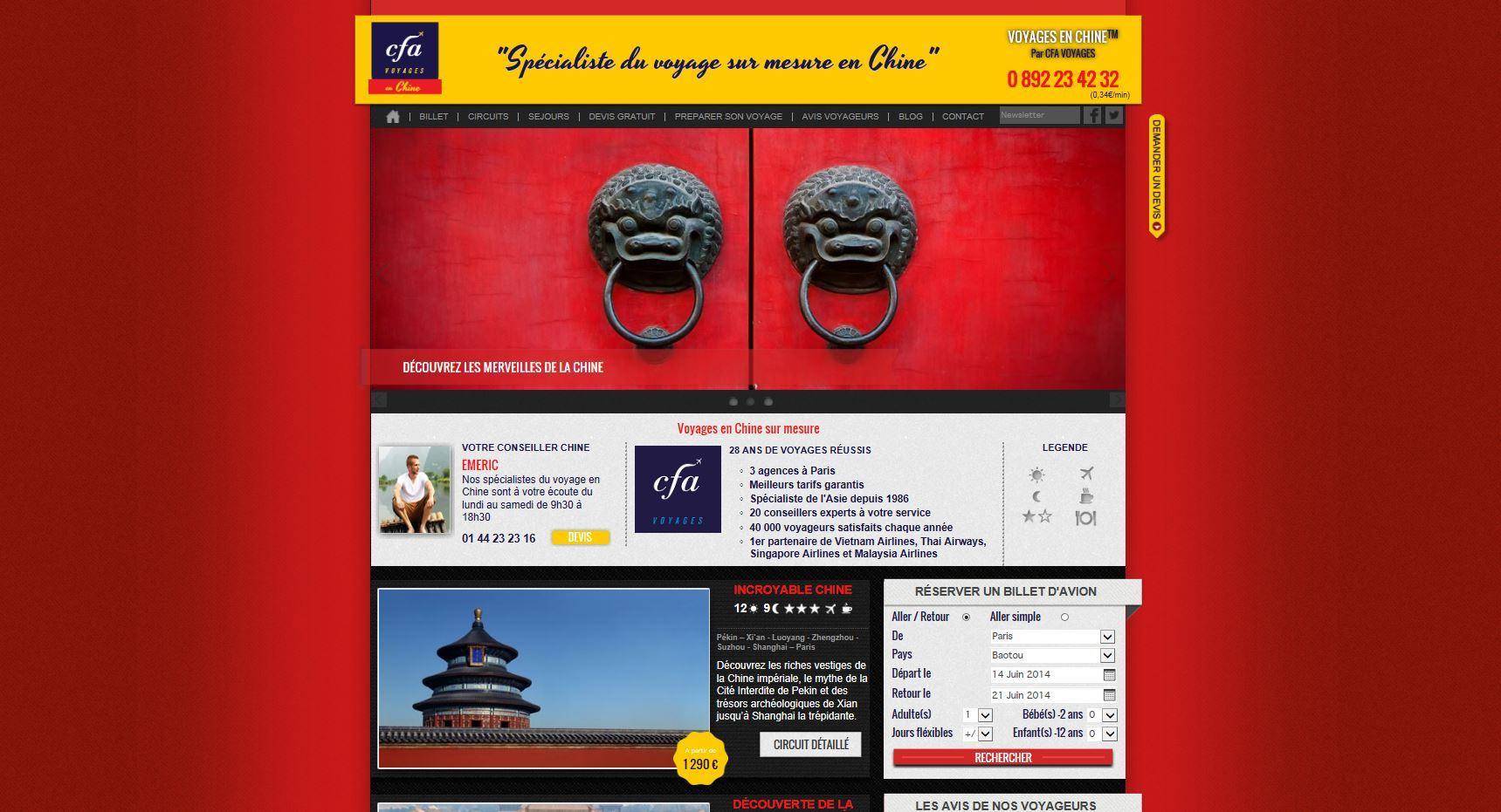 Site CFA voyages VOYAGES EN CHINE.COM