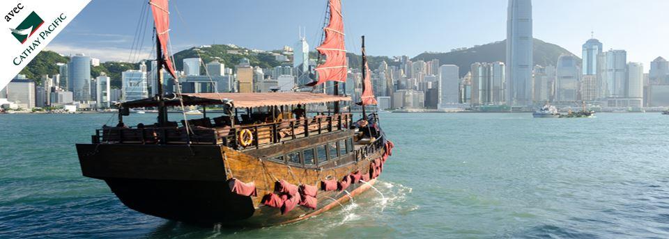 Jonque sur baie de Hong Kong
