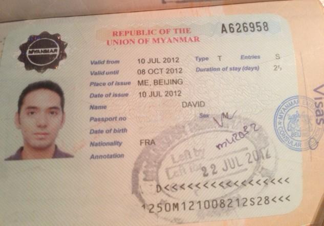 obtention du visa pour le myanmar ex birmanie. Black Bedroom Furniture Sets. Home Design Ideas